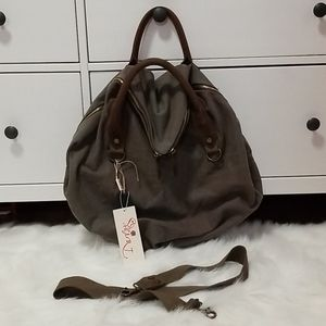 NWT Heart Canvas&Vegan leat. Hobo Crossbody bag